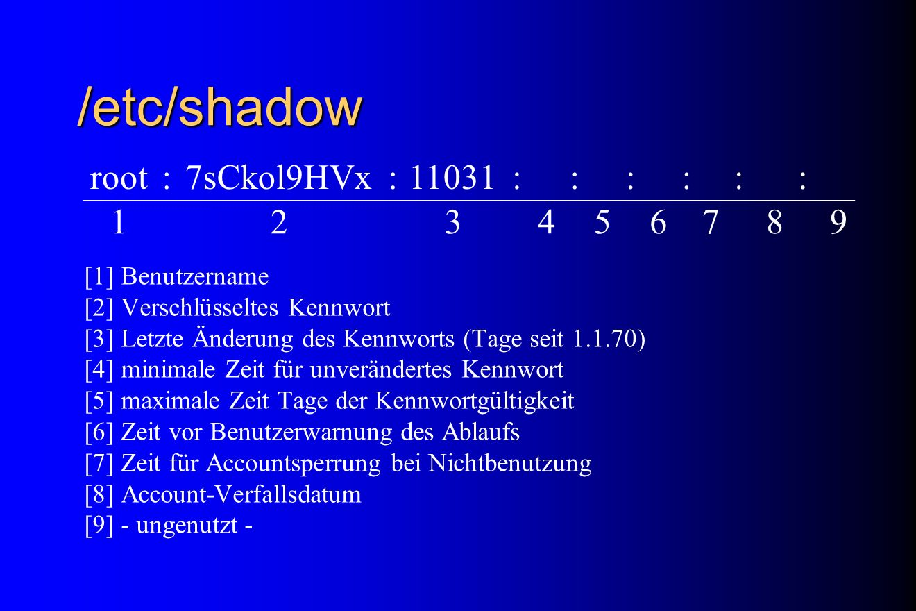 /etc/shadow root : 7sCkol9HVx 11031 1 2 3 4 5 6 7 8 9 [1] Benutzername